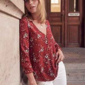 """Burnt Orange Floral Sezane """"Heloise"""" Blouse with V Neck and 3/4 Sleeves"""